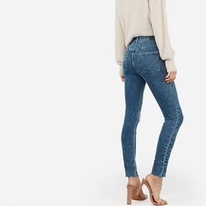 Express | high-waisted marble wash raw hem jeans